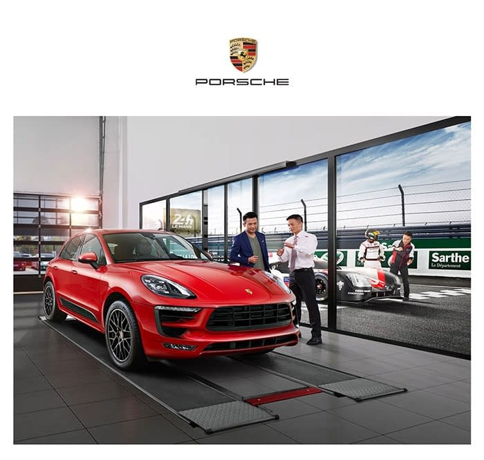 Automotive photography for Porsche Services China's KV poster shot on-location, in Shanghai, China. Shanghai photographer with studio creates KV level photography for advertising and marketing materials.