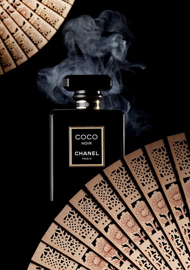 Shanghai studio perfume still-life editorial for Xiamen's ROUGE magazine aroma products. COCO Noir, Chanel Paris. Shot in-studio, in Shanghai. Shanghai photographer with studio creates still-life campaign and KV imagery for advertising and marketing materials.